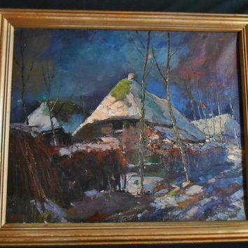 Fine Large Antique Impressionist Nocturnal Landscape Oil Painting Country Cabin