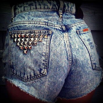 Vintage High Waisted Acid Wash Studded Cut Off by TrueBlueDryGoods