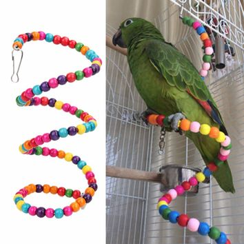100CM Parrots Toys Bird Swing Exercise Rainbow Hamster Parrot Parakeet Toy Wooden Bird Ladder
