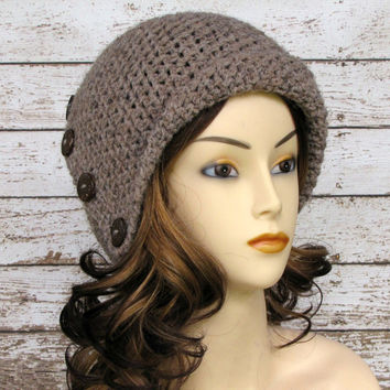 On Sale Crocheted Taupe Cloche Brown Lamb's by CreativeDragonfly