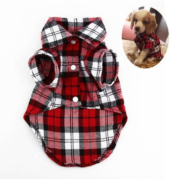 Fashion Pet Puppy Plaid Shirt