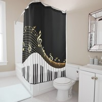 Piano Keys Music Wave Shower Curtain