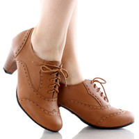 Amany-01 Lace-Up Oxford Heels