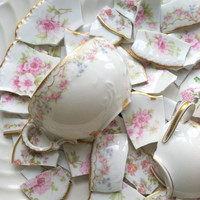 FREE SHIPPING/60 Limoges Combo Floral Tiles and Teacup Focals/Hand Cut Mosaic Tiles/Art Deco/DIY Shabby Chic