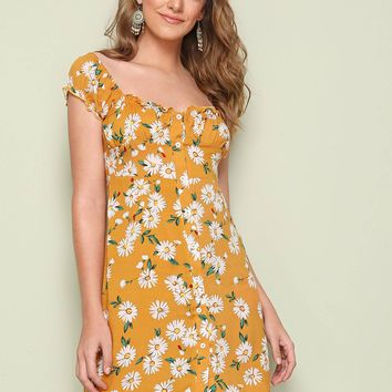 Daisy Floral Print Button Front Bustier Dress