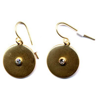 Golden Shield CZ Earrings