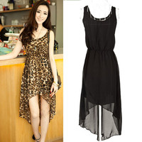 New Korean Elegant Women Lady chiffon Long dress High Waist Sundress Leopard