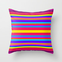 Horizontal Happy Stripes #2 Throw Pillow by 2sweet4words Designs | Society6
