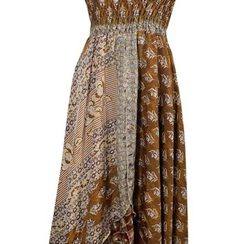 Mogul Womens Sundress Strapless Recycled Vintage Sari Boho Flare Vinatge Maxi Skirt (Dark Brown)