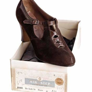 Vintage Brown Suede/Leather Mary Jane Shoes 1930s NIB 6 Air Step/Brown Bilt