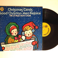 OCTOBER SALE Vinyl Record Christmas Carols Good Christian Men Rejoice By The St Pauls Boys Choir LP Album