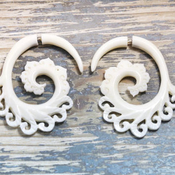 Bone Earings Fake Gauges White Spiral Wave Swril Tribal Organic Handmade - FG046 B