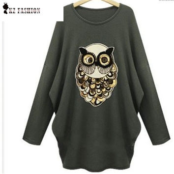 Women Owl Patch Design Sweater O-Neck Long Sleeve Batwing Knitted Pullover Stretch Casual Autumn Winter Knitted Tops C5N340