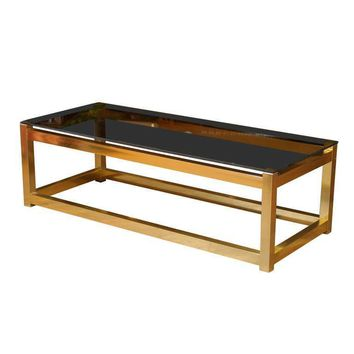 Pre-owned Brass Coffee Table with Smoked Glass Top