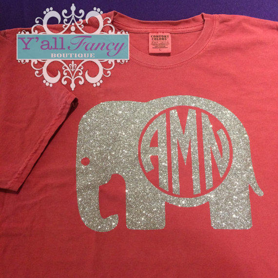 Alabama Monogrammed Glitter Elephant From Yallfancyboutique On