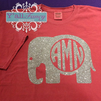 Alabama Monogrammed Glitter Elephant Comfort Colors Short Sleeve or Long Sleeve Tee - Y'all Fancy