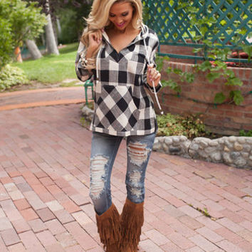 Mellow Beauty Black Plaid Hoodie