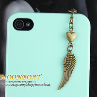 Dust Proof Plug-3.5mm Retro Brass Wing Dust For iphone 4s,iPhone 4,iPhone 3gs,iPod Touch 4,HTC,Nokai,Samsung,Sony MB658