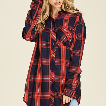 Chris Plaid Button Up Tunic Top