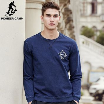 Pioneer Camp deep blue sweatshirts men brand clothing top quality autumn spring hoodies men fashion casual male hoodies 677077