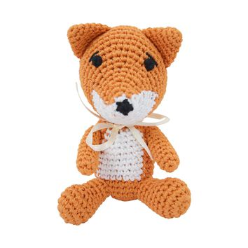 Dog Teeth Cleaning Cotton Crochet Squeaky Dog Toy for Small Dog - Foxy Fox