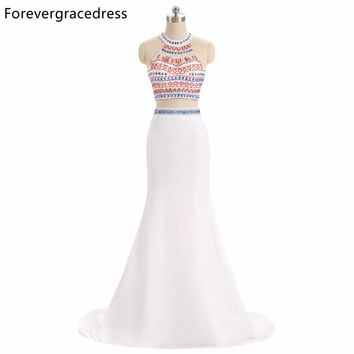 Forevergracedress Original Photo Two Pieces Prom Dress New Fashion Mermaid Beaded Crystals Long Formal Party Dress Plus Size