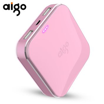 Aigo 10000mAh Power Bank Lovely Battery Smallest Powerbank Dual USB Ports Most Compact Portable External Battery for Iphone 6 7s