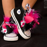 Converse SASSY ZEBRA Black High Tops with Princess Boutique Bows (Sizes 2 Infant - 10 Toddler) and Swarovski Crystals