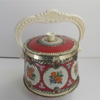 Old Metal Round Handled Tin Container with Floral Medallions Fleur De Lis