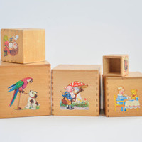 Vintage Wooden Toy Nesting Boxes - Nursery Blocks