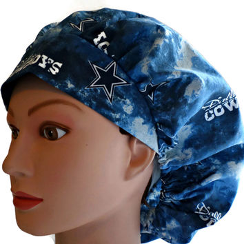 Women's Bouffant, Pixie, or Ponytail Surgical Scrub Hat Cap in Dallas Cowboys Tie-Dye