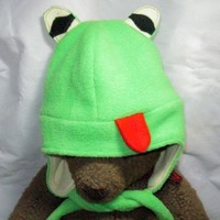Froggy Reversible Ear Flap Fleece Hat Fits Toddler To Older Child