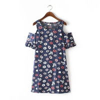 Blue Lips Print Cutout Short-Sleeve Dress