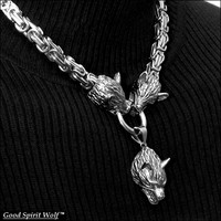 Three Snarling Wolves Necklace On Premium Quality 8mm Byzantine Design Chain Necklace