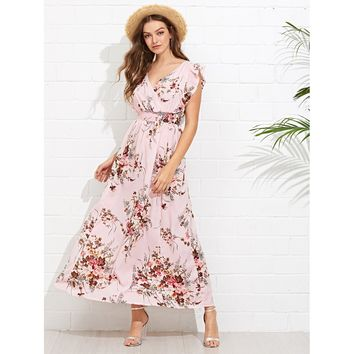 Women's Ruffle Embellished Shirred Waist Floral Dress