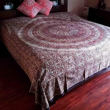 Kalamkari Block Print Tapestry Coverlet Bedspread Cotton Full Queen Red Green