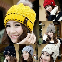 Women's Winter Warm Hats Braided Crochet Hats Ski Beanie Caps Earmuff Knitting = 1697177348