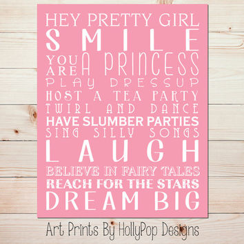 Girls Room Wall Decor Baby Girl Nursery Girl Subway Art Pink Nursery Wall Decor You are A Princess Inspirational Toddler Girl Quote #0714