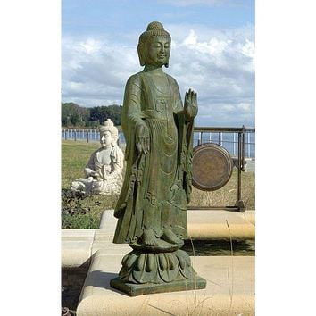 Buddha Standing on Lotus Flower Garden Statue Cast in Quality Resin