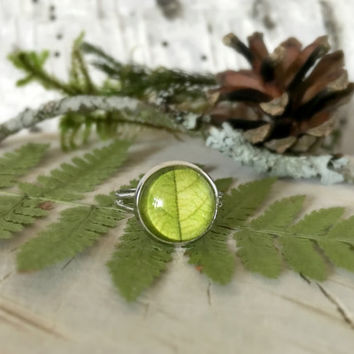 Green Leaf Ring, Adjustable Ring, Glass Cabochon, Leaf Jewelry