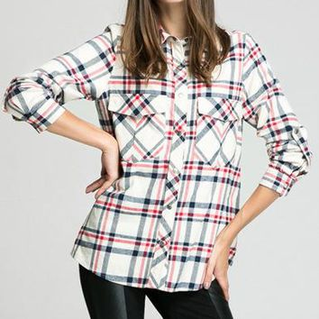 Womens Flannel Shirt - Broad Patterned / White Blue Red