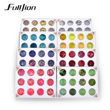 Fulljion 12 Mixed Flake Chunky Body Glitter Nail Face Eye Shadow Sequins Festival Decorations Adhesive Temporary Tattoos Sticker