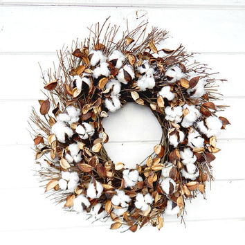 Farmhouse Wreath-Cotton Wreath-Fixer Upper Decor-Rustic Farmhouse Decor-Front Door Wreath-Rustic Wreaths-Summer Wreath-Fall Wreath-Gifts