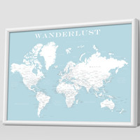 World Push Pin Map (Print Only) , Travel Map, Map Poster, Travel Board, Wedding - Anniversary Gift  #World-002
