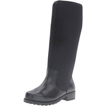 SoftWalk Womens Biloxi Wide Calf Leather Riding Boots