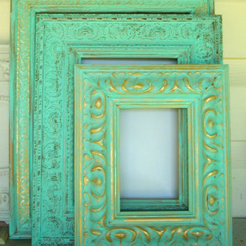 3 Mint Green Ornate Distressed Picture Frames