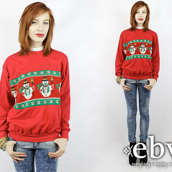 Ugly Christmas Sweater Vintage 80s Snowman Sweatshirt S M Fugly Christmas Sweater Xmas Sweater Tacky Christmas Sweater Holiday Sweater