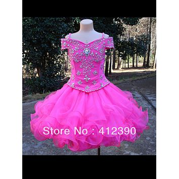 Hot Pink Organza Beading Ball Gown Cupcake Flower Girl Dresses Short  Kids Pageant Dresses infant toddler dresses