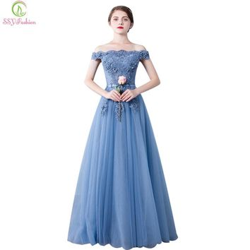Evening Dress Bride Banquet Elegant Blue Lace Embroidery Boat Neck Floor-length Prom Dresses Custom Party Gown