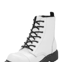 White Capped Toe & Eye Combat Boot